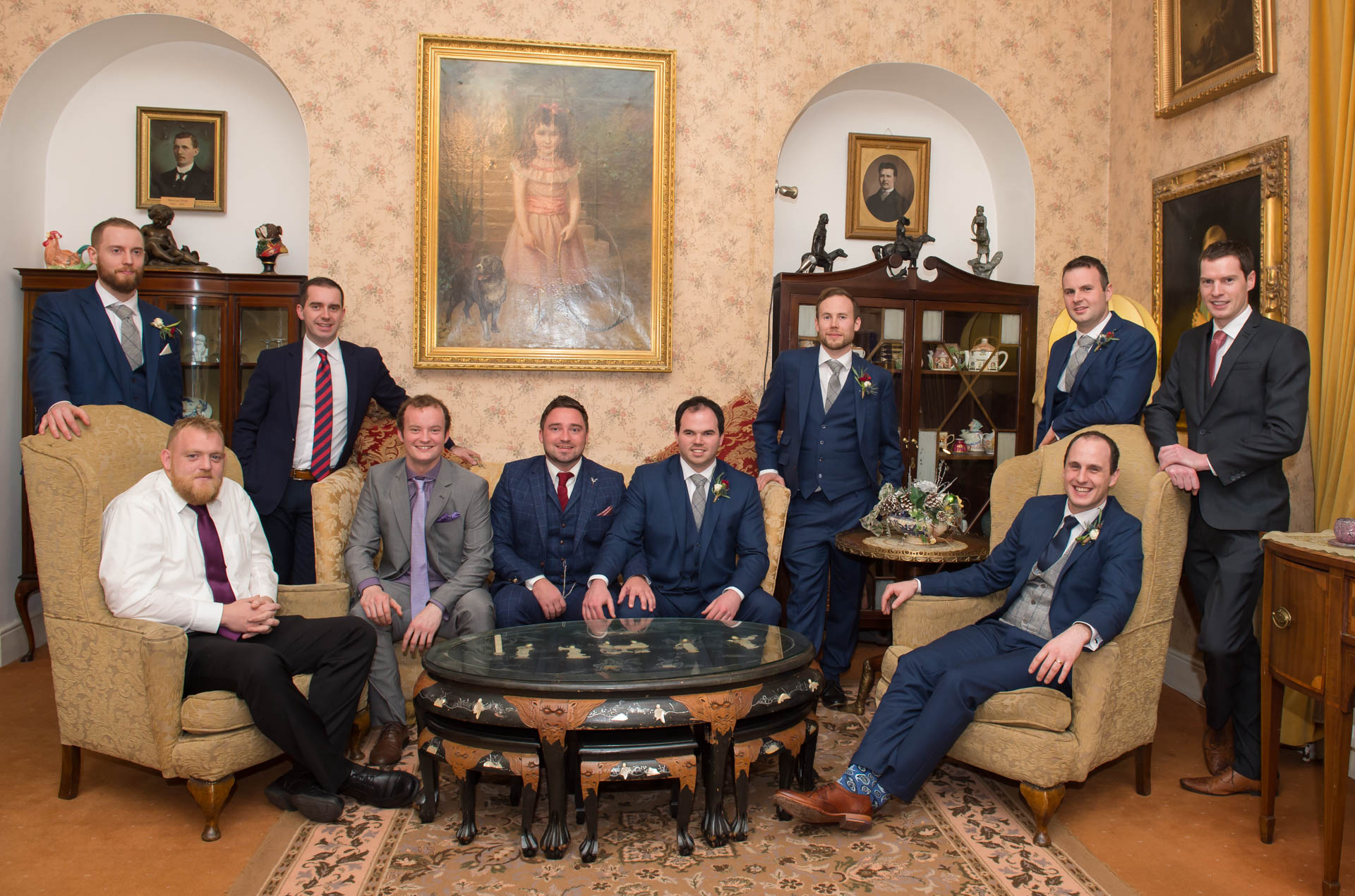 Picture of James and his groomsmen at Cabra Castle on their wedding day captured by Fermanagh, Tyrone and Northern Ireland wedding photographer, Trevor Lucy Photography