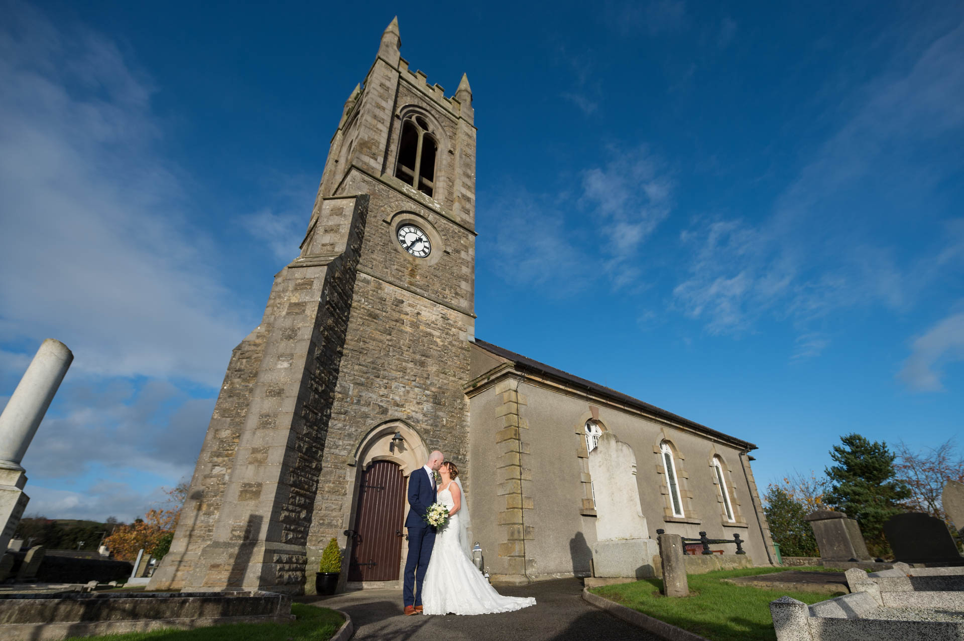 Picture of Chrissy and Kenny at Church of Ireland, Lisbellaw on their wedding day captured by Fermanagh, Tyrone and Northern Ireland Wedding Photographer, Trevor Lucy Photography