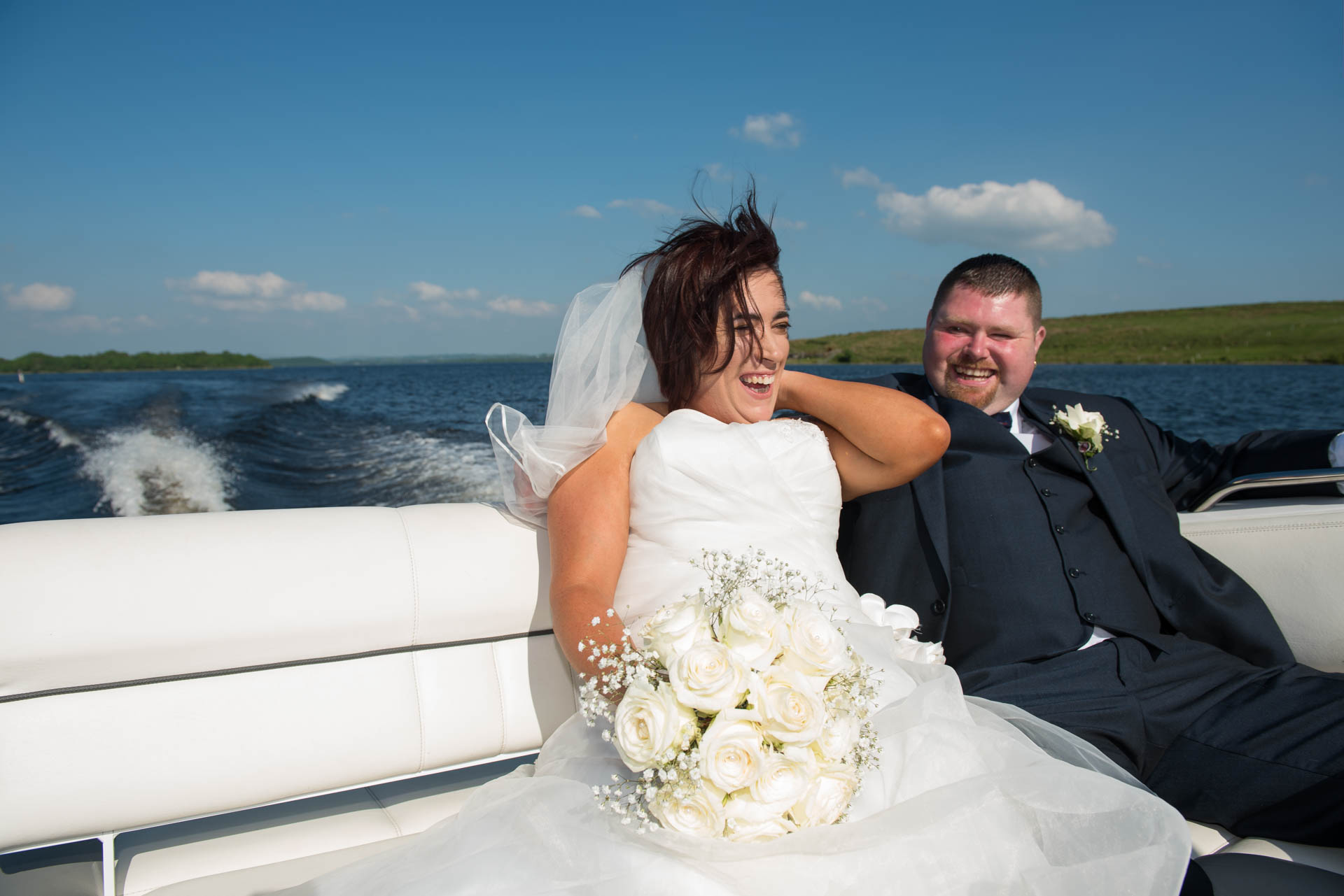 Picture of Leanne and Kevin at Lusty Beg Island on their wedding day, captured by Fermanagh, Tyrone and Northern Ireland Wedding Photographer, Trevor Lucy Photography