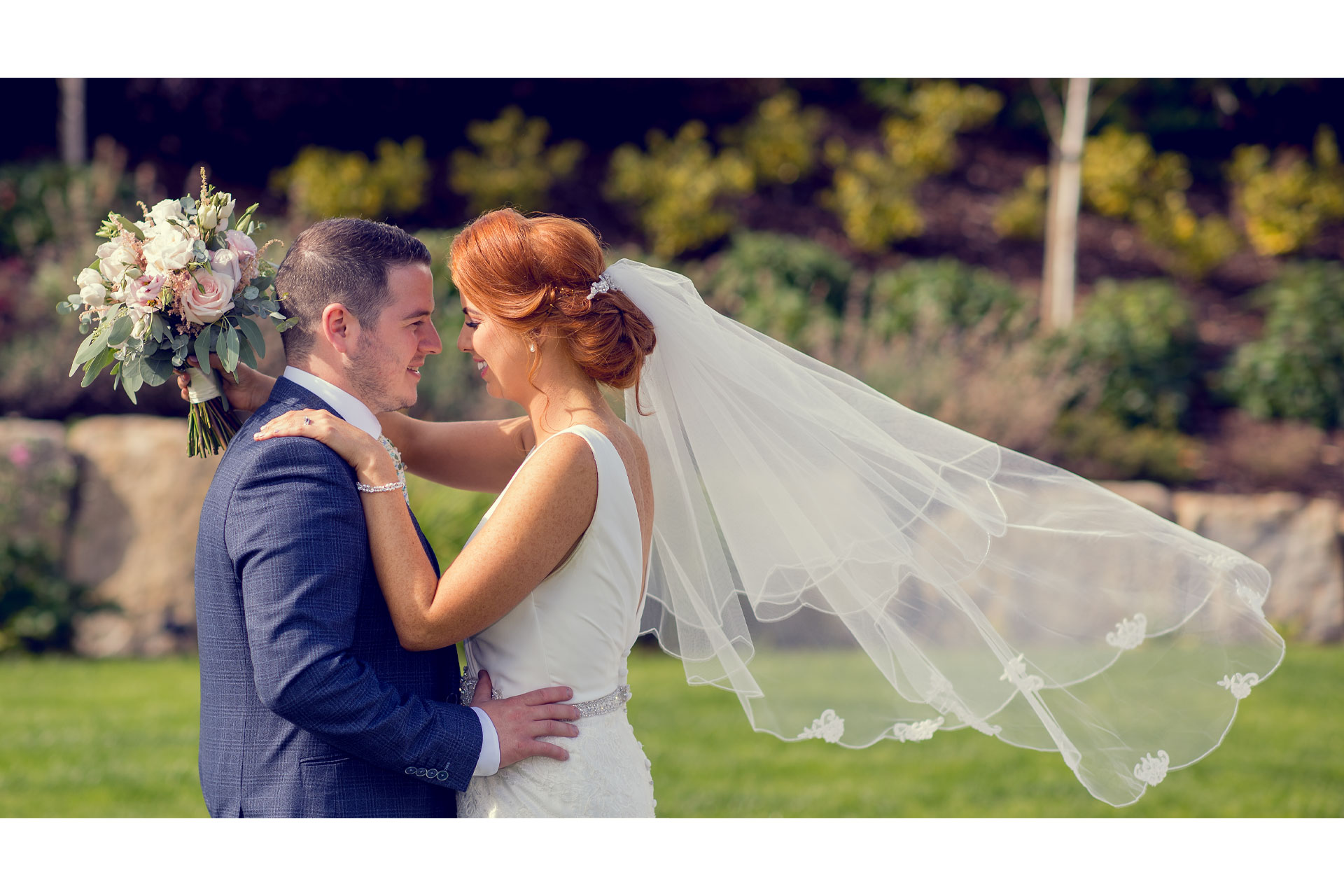 Photo of Becky and Ryan on their wedding day at Hotel Kilmore, Co. Cavan, Ireland.