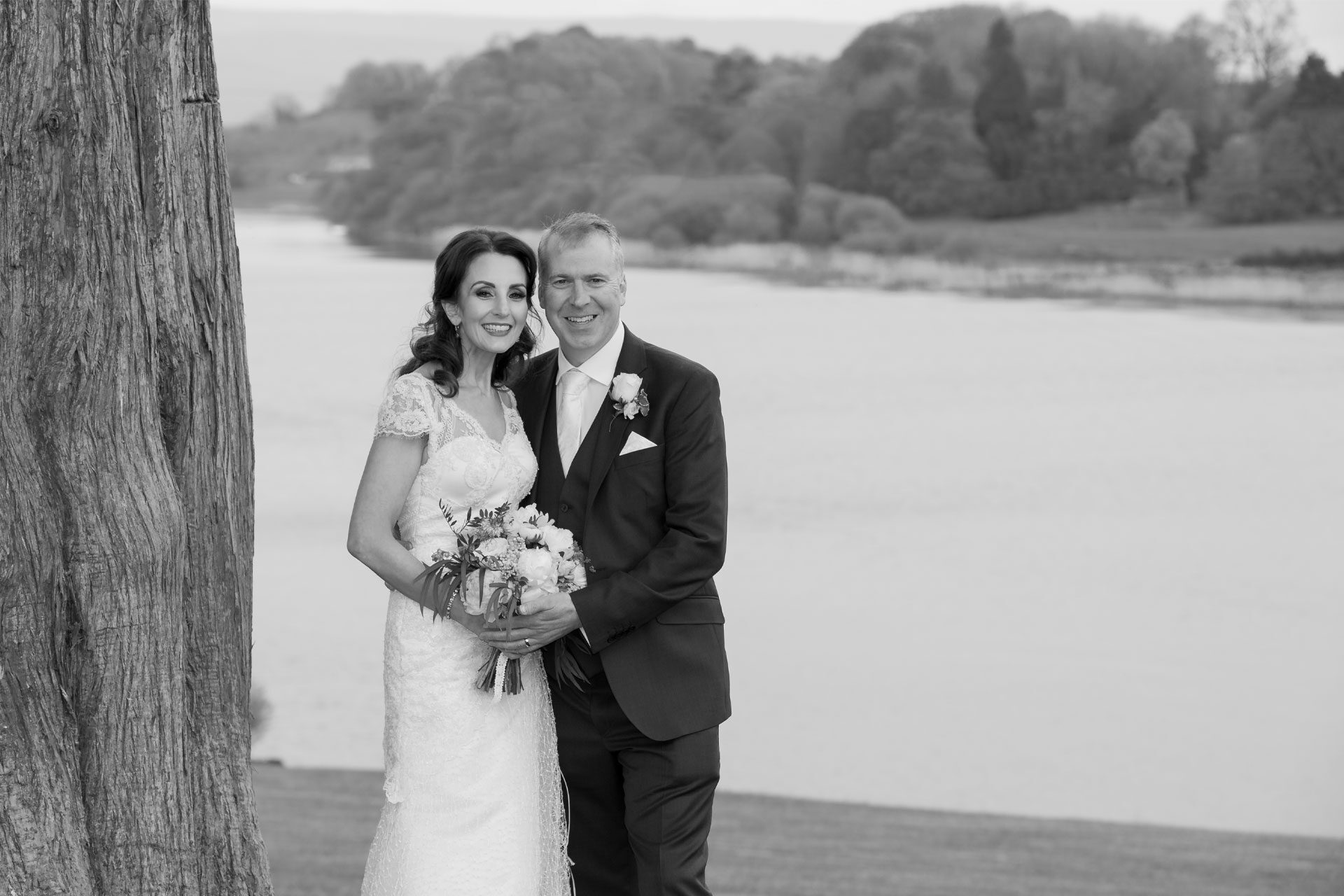 Photo of Vania and Robert on their wedding day, captured at Killyhevlin Hotel, Enniskillen, Co. Fermanagh, Northern Ireland.