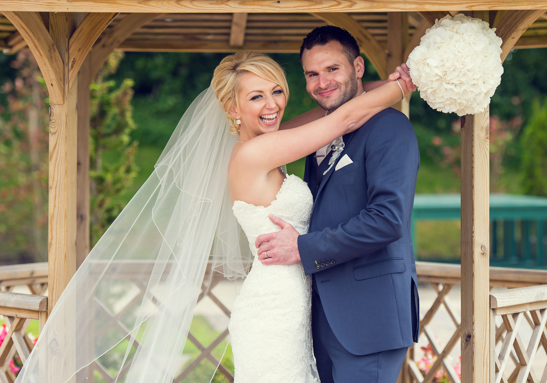 Photo of Gillian and Richard during their wedding day at the Killyhevlin Hotel, Co. Fermanagh, Northern Ireland.